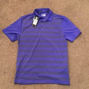 Under Armour Purple and Grey Striped Polo
